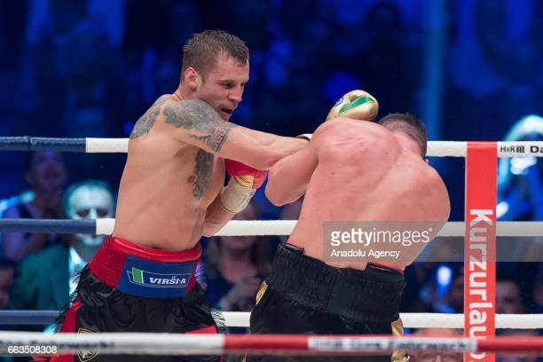 Mairis Briedis in action against Marco Huck during the WBC World Championship fight between Marco Huck v Mairis Briedis at Westfalenhalle on April 1...