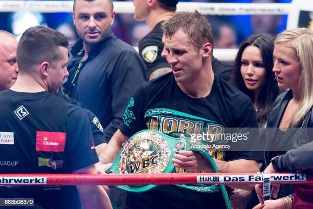 Mairis Briedis the new WBC Champion celebrates after the WBC World Championship fight between Marco Huck v Mairis Briedis at Westfalenhalle on April...