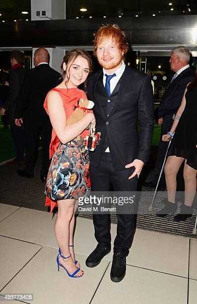 Maisie Williams and Ed Sheeran attend the World Premiere of 'Ed Sheeran Jumpers For Goalposts' at Odeon Leicester Square on October 22 2015 in London...