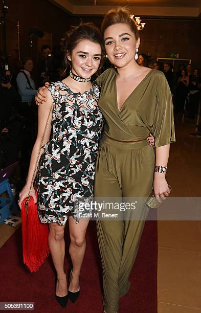 Maisie Williams and Florence Pugh arrive at The London Critics' Circle Film Awards at The May Fair Hotel on January 17 2016 in London England