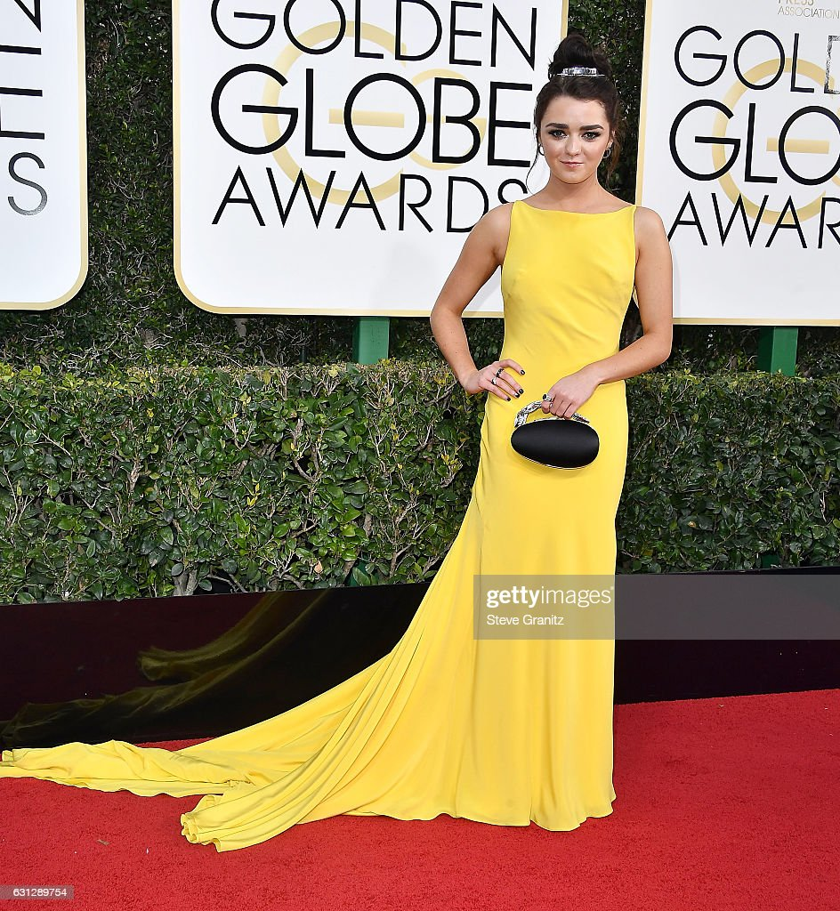 Maisie Williams arrives at the 74th Annual Golden Globe Awards at The Beverly Hilton Hotel on January 8, 2017 in Beverly Hills, California.