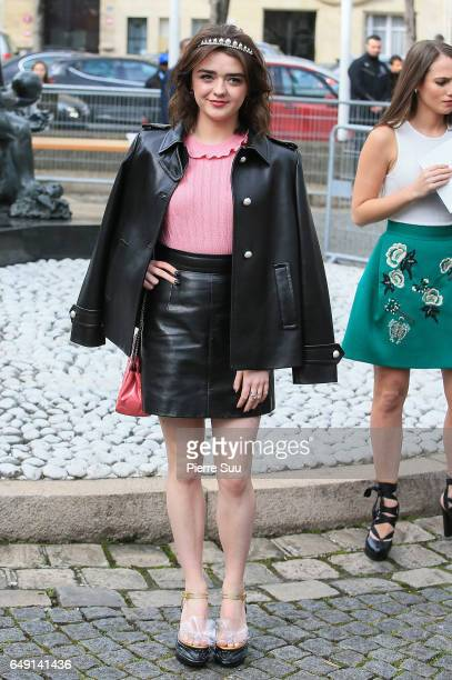 Maisie Williams arrives at the Miu Miu show as part of the Paris Fashion Week Womenswear Fall/Winter 2017/2018 on March 7 2017 in Paris France