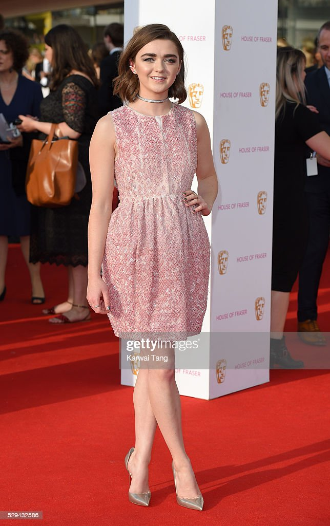 Maisie Williams arrives for the House Of Fraser British Academy Television Awards 2016 at the Royal Festival Hall on May 8, 2016 in London, England.