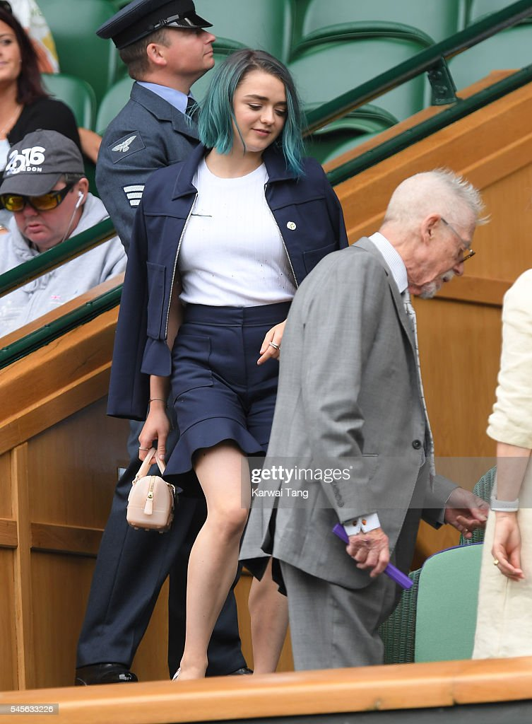Maisie Williams attends the women's final of the Wimbledon Tennis Championships between Serena Williams and Angelique Kerber at Wimbledon on July 09...