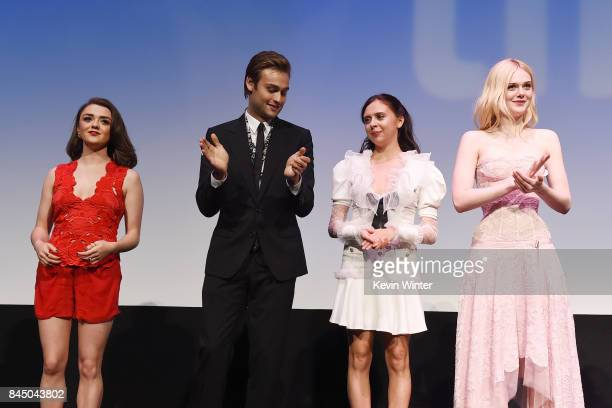 Maisie Williams Douglas Booth Bel Powley and Elle Fanning attend the 'Mary Shelley' premiere during the 2017 Toronto International Film Festival at...
