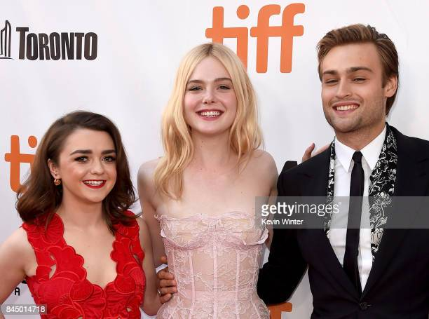 Maisie Williams Elle Fanning and Douglas Booth attend the 'Mary Shelley' premiere during the 2017 Toronto International Film Festival at Roy Thomson...