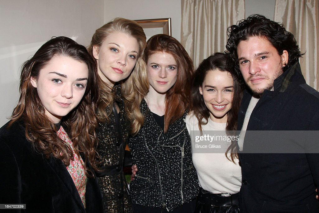 Maisie Williams, Natalie Dormer, Rose Leslie, Emilia Clarke and Kit Harington (the cast of HBO's 'Game Of Thrones') pose backstage at the play 'Breakfast at Tiffanys' (Emilia Clarke is starring in it) on Broadway at The Cort Theater on March 26, 2013 in New York City.