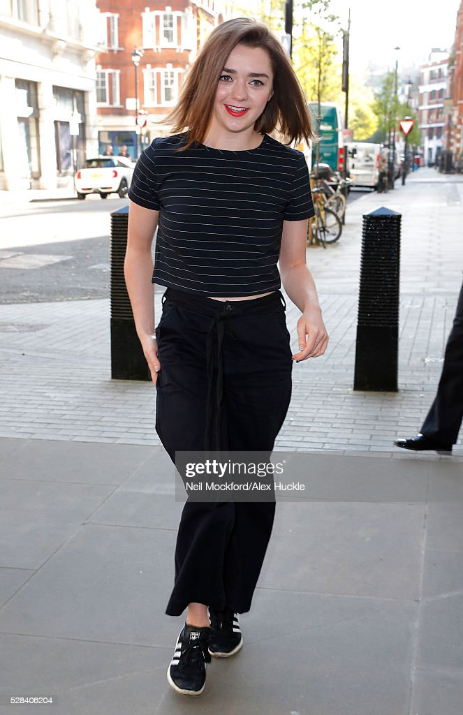 <a gi-track='captionPersonalityLinkClicked' href=/galleries/search?phrase=Maisie+Williams&family=editorial&specificpeople=1766400 ng-click='$event.stopPropagation()'>Maisie Williams</a> seen arriving at the BBC Radio 1 Studios on May 5, 2016 in London, England.