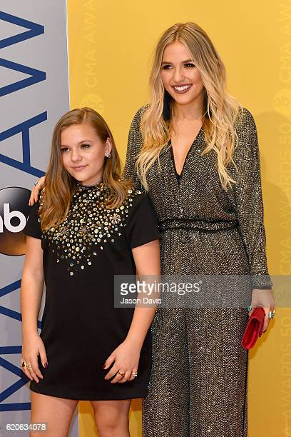 Maisy Stella and Lennon Stella of musical duo Lennon and Maisy attend the 50th annual CMA Awards at the Bridgestone Arena on November 2 2016 in...