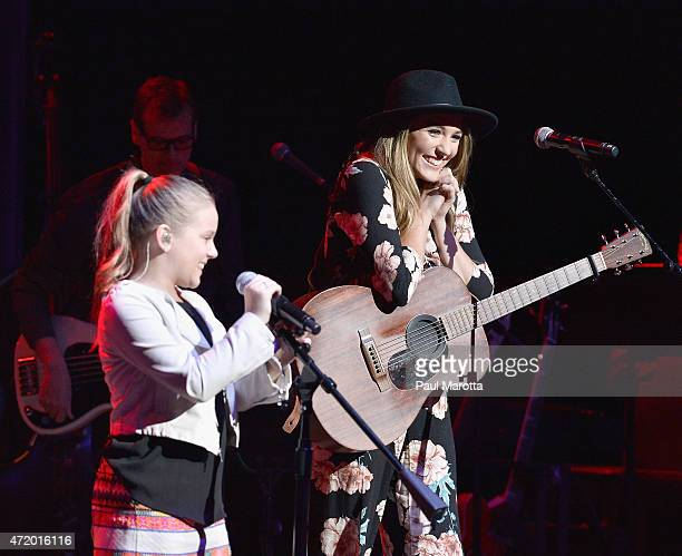 Maisy Stella and Lennon Stella perform on stage at the abc 'Nashville' cast spring concert tour at the Wang Theatre on May 2 2015 in Boston...