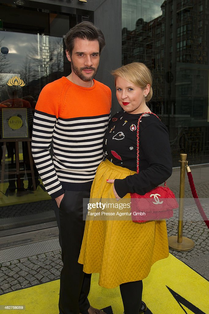 Maite Kelly and her husband Florent Raimond attend the Grazia Pop Up during Mercedes-Benz Fashion Week Autumn/Winter 2014/15 at Sra Bua Restaurant on January 15, 2014 in Berlin, Germany.