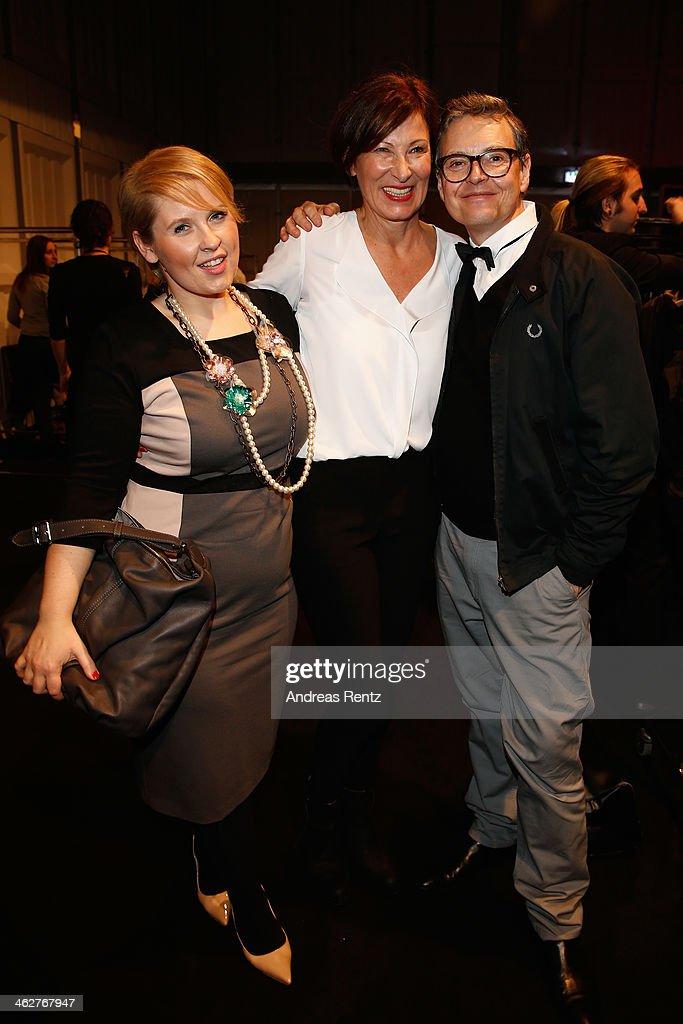 Maite Kelly designer Eva Lutz and Rolf Scheider attend the Minx by Eva Lutz show during MercedesBenz Fashion Week Autumn/Winter 2014/15 at...