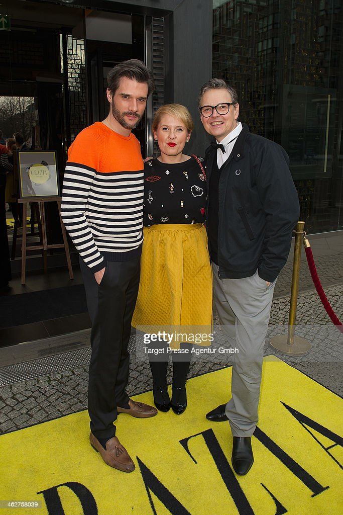 Maite Kelly, Florent Raimond and <a gi-track='captionPersonalityLinkClicked' href=/galleries/search?phrase=Rolf+Scheider&family=editorial&specificpeople=5378029 ng-click='$event.stopPropagation()'>Rolf Scheider</a> attend the Grazia Pop Up during Mercedes-Benz Fashion Week Autumn/Winter 2014/15 at Sra Bua Restaurant on January 15, 2014 in Berlin, Germany.
