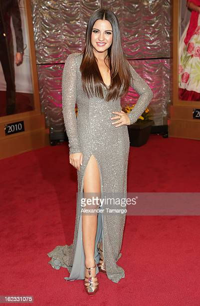 Maite Perroni arrives at the 25th anniversary of Univision's Premio lo Nuestro a la Musica Latina at the AmericanAirlines Arena on February 21 2013...