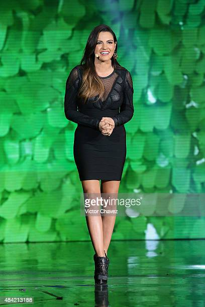 Maite Perroni speaks on stage during the Nickelodeon Kids' Choice Awards Mexico 2015 at Auditorio Nacional on August 15 2015 in Mexico City Mexico