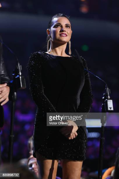 Maite Perroni speaks onstage during the Nickelodeon Kids' Choice Awards Mexico 2017 at Auditorio Nacional on August 19 2017 in Mexico City Mexico