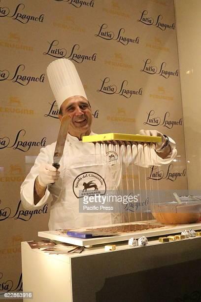 'Maitre Chocolatier Perugina in the boutique Luisa Spagnoli 'Maitre Chocolatier' performed in the Boutique 'Luisa Spagnoli' in Naples Alberto...