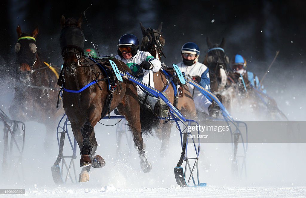 Maitre de la Piste ridden by J. F. Johner leads the field into the final turn during the Grand Prix Elektro Koller race at the White Turf horse racing meeting held on the frozen Lake St Moritz on February 3, 2013 in St Moritz, Switzerland.