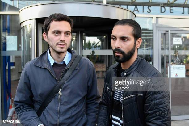 Maitre Levy and Bilel ben kahlal way out of the apoitement with the procurator of Bobigny in Paris France on October 4 2017