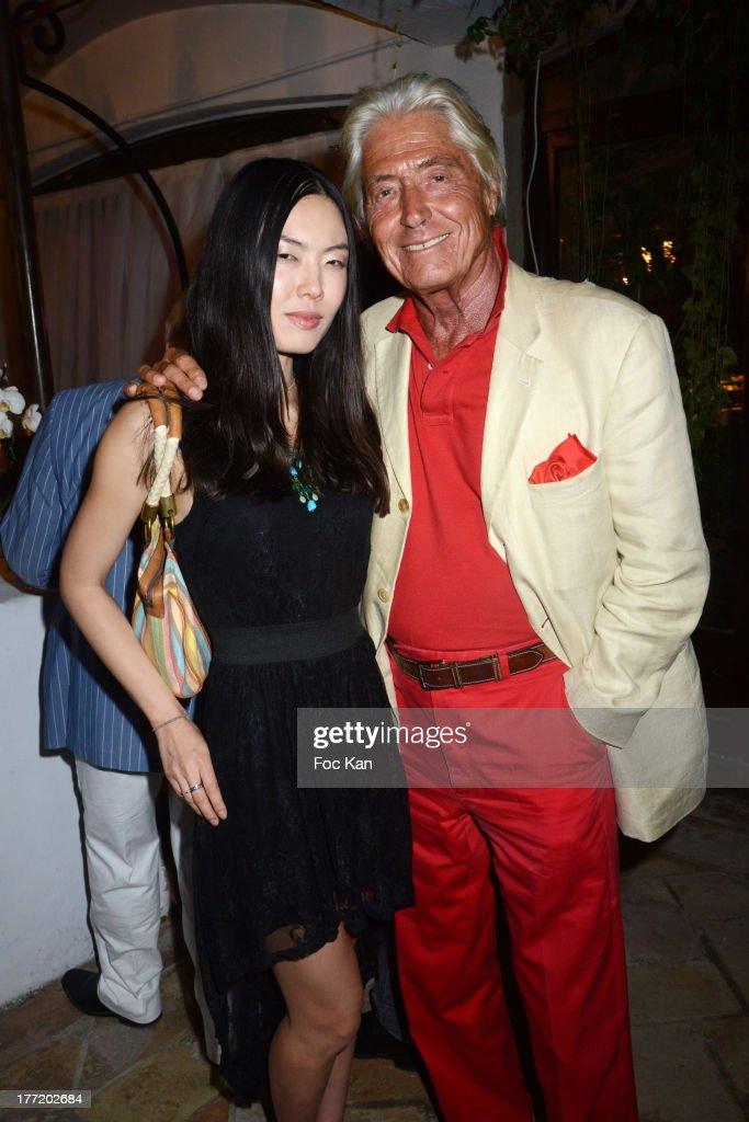 Maitre Pierre Cornette de Saint Cyr (R) and Yoko Koko attend the Massimo Gargia's Birthday Dinner at Moulins de Ramatuelle on August 21, 2013 in Saint Tropez, France.