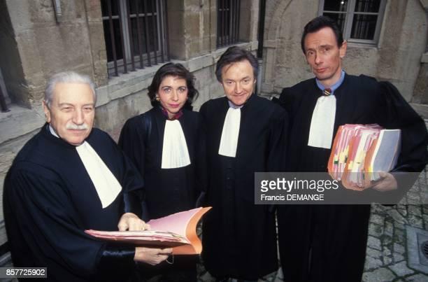 Maitres HenriRene Garaud MarieChristine Chastant Francois Robinet et Thierry Moser les avocats de la famille Villemin lors du proces de JeanMarie...