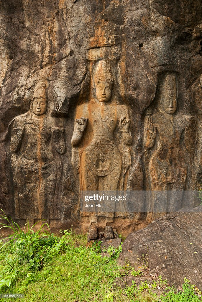 Maitreya figures carved in stone