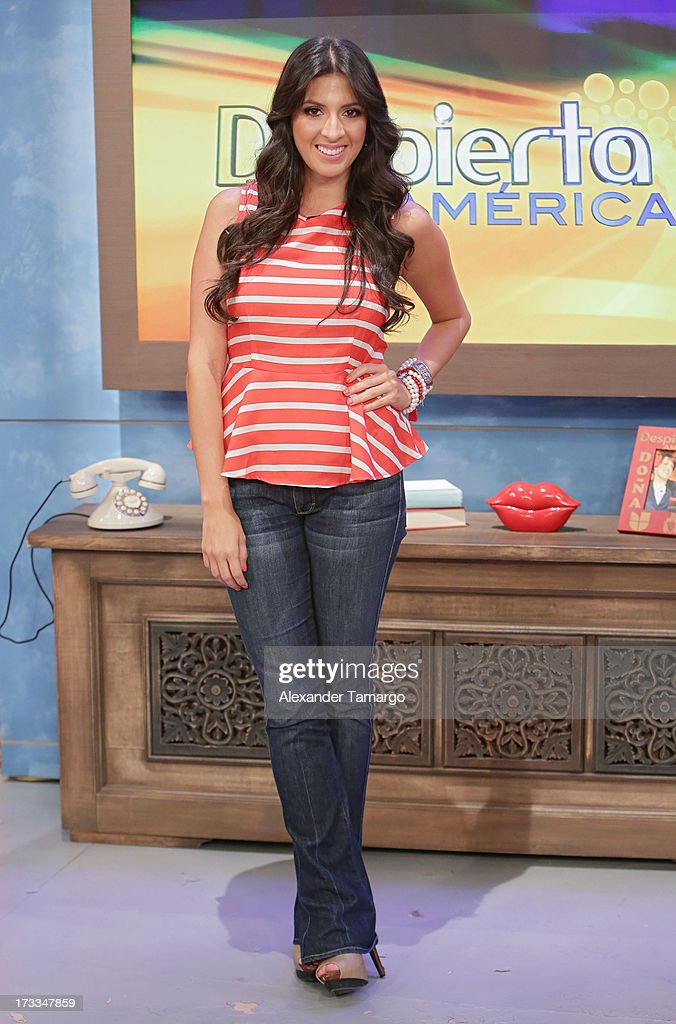 Maity Interiano is seen during Sesame Street's visit of Univision's 'Despierta America' at Univision Headquarters on July 12, 2013 in Miami, Florida.