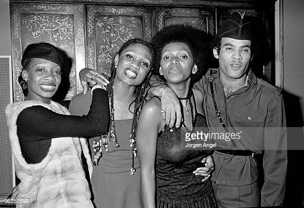 Maizie Williams Marcia Barrett Liz Mitchell and Bobby Farrell of Boney M pose for a group portrait at a press conference in 1979 in Copenhagen Denmark