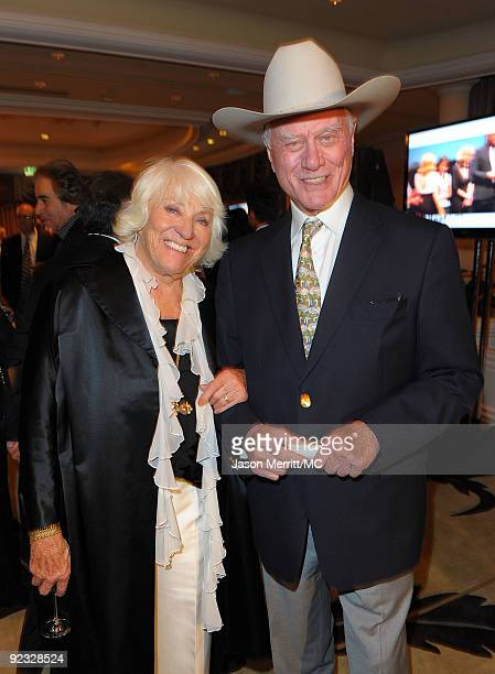 OUT*** Maj Axelsson and actor Larry Hagman attend the Monte Carlo Television Festival cocktail party held at the Beverly Hills Hotel on October 24...