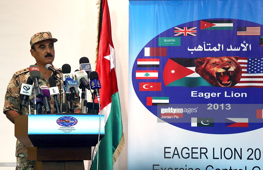 Maj. Gen. Awni el-Edwan, Chief of staff of the Jordanian Operations and Training Armed Forces speaks during a news conference June 9, 2013 in Amman, Jordan. The news conference was regarding the annual multilateral training exercise Eager Lion. According to officials, 8,000 personnel from 19 different nations will be participating in the exercise in Jordan from June 9 to June 20, 2013.