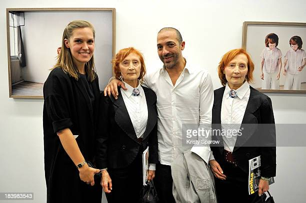 Maja Daniels Georges MohammedCherif and Monette Malroux and Mady Malroux pose during Contour by Getty Images Exhibition at Polka Gallery in Paris on...