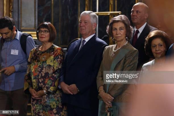 Maja Gojkovic Prince Aleksandar Karadjordjevic Queen Sofia of Spain during wedding of Prince Philip of Serbia and Danica Marinkovic at The Cathedral...
