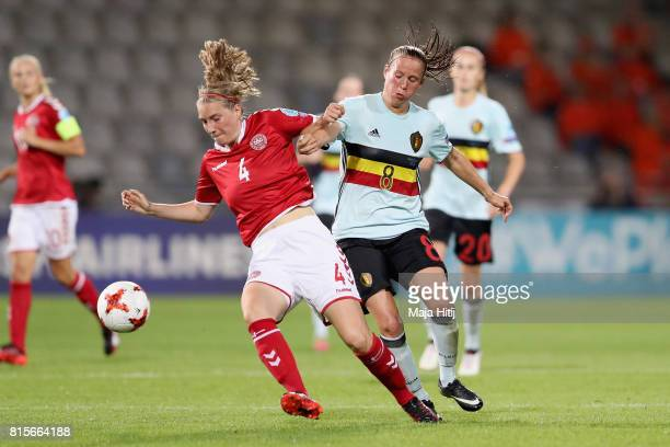 Maja Kildemoes of Denmark and Lenie Onzia of Belgium battle for possession during the Group A match between Denmark and Belgium during the UEFA...