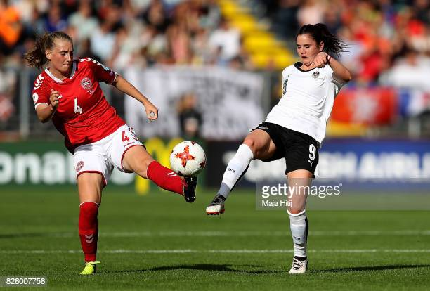 Maja Kildemoes of Denmark and Sarah Zadrazil of Austria battle for possession during the UEFA Women's Euro 2017 Semi Final match between Denmark and...