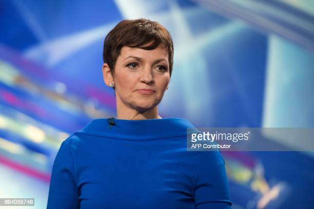 Maja Makovec Brencic presidential candidate and Minister of Education Science and Sport attends the last TV Presidential Debate ahead of the...
