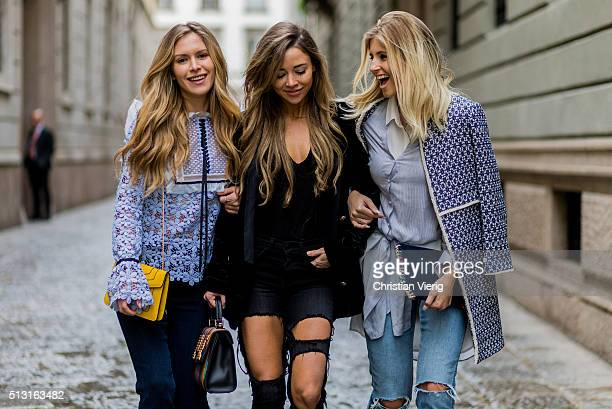 Maja Malnar Bridget Bahl Xenia van der Woodsen seen outside during Milan Fashion Week Fall/Winter 2016/17 on February 29 in Milan Italy