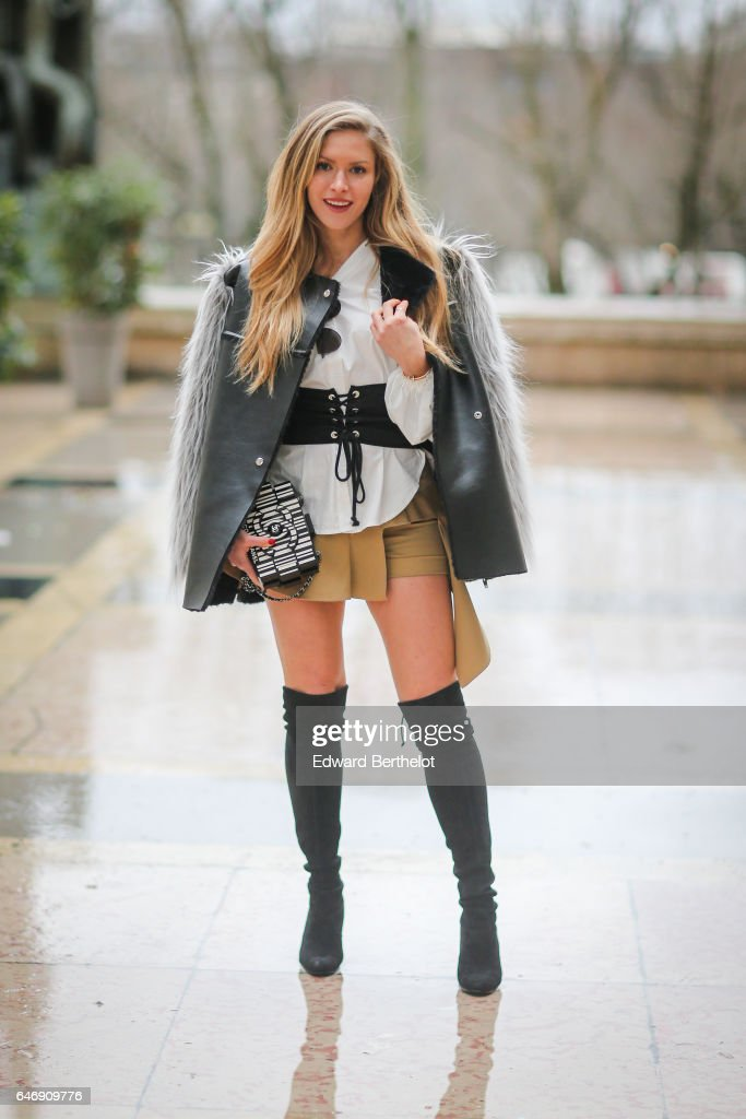 Maja Malnar is seen, outside the Rochas show, during Paris Fashion Week Womenswear Fall/Winter 2017/2018, on March 1, 2017 in Paris, France.