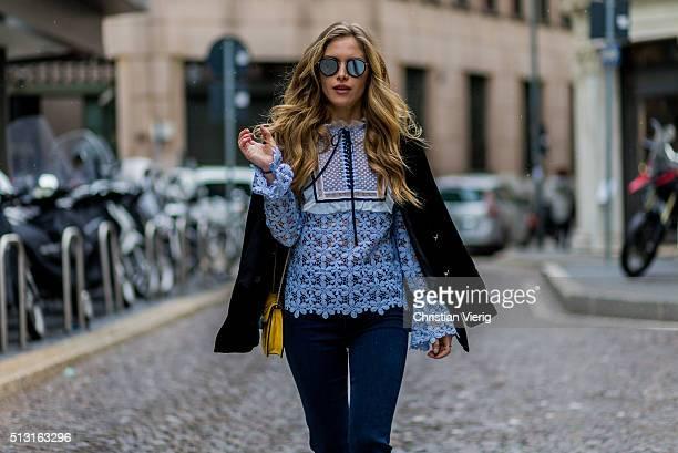 Maja Malnar wearing a babyblue blouse by Mrself portrait navy jeans from Mother denim Bulgari bag Zara studio jacket Taylor Morris sunglasses seen...