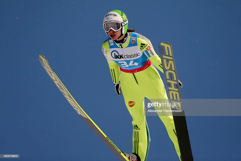 <a gi-track='captionPersonalityLinkClicked' href=/galleries/search?phrase=Maja+Vtic&family=editorial&specificpeople=7521568 ng-click='$event.stopPropagation()'>Maja Vtic</a> of Slovenia competes during day one of the Women Ski Jumping World Cup event at Schattenberg-Schanze Erdinger Arena on January 24, 2015 in Oberstdorf, Germany.