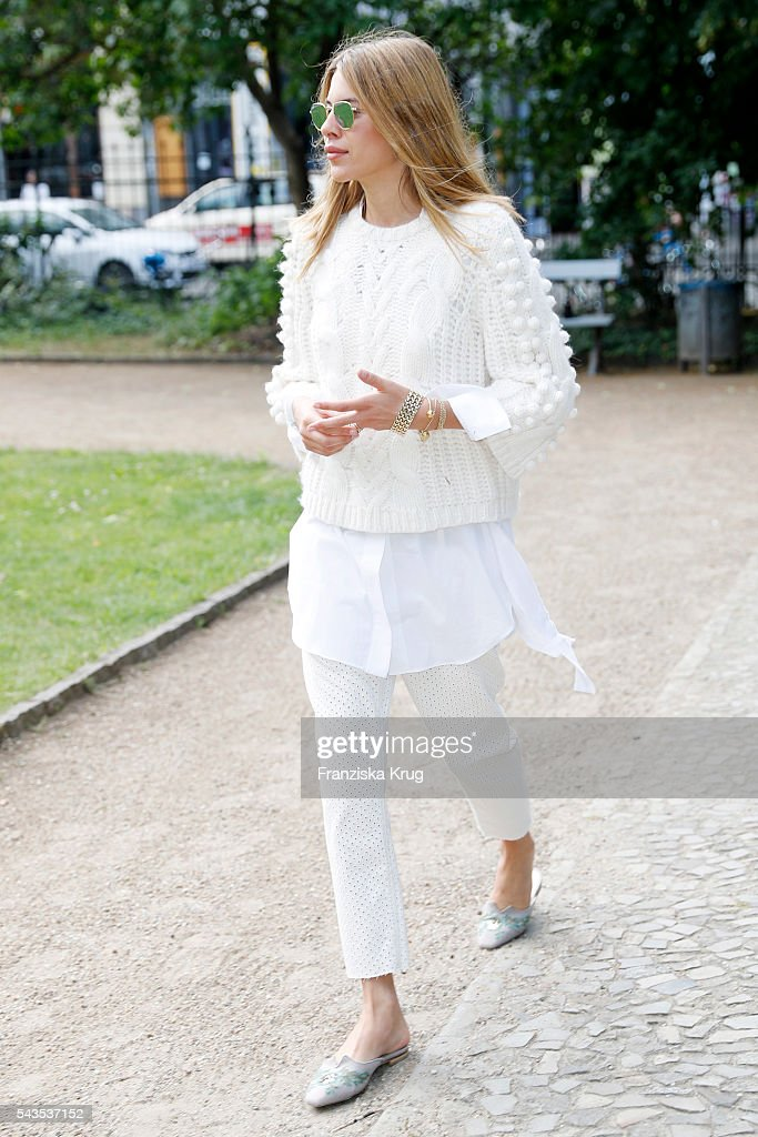 <a gi-track='captionPersonalityLinkClicked' href=/galleries/search?phrase=Maja+Wyh&family=editorial&specificpeople=12961478 ng-click='$event.stopPropagation()'>Maja Wyh</a> attends the Dorothee Schumacher show during the Mercedes-Benz Fashion Week Berlin Spring/Summer 2017 at Elisabethkirche on June 29, 2016 in Berlin, Germany.