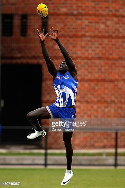 Majak Daw marks the ball during a North Melbourne Kangaroos AFL training session at Arden Street Ground on March 27 2014 in Melbourne Australia
