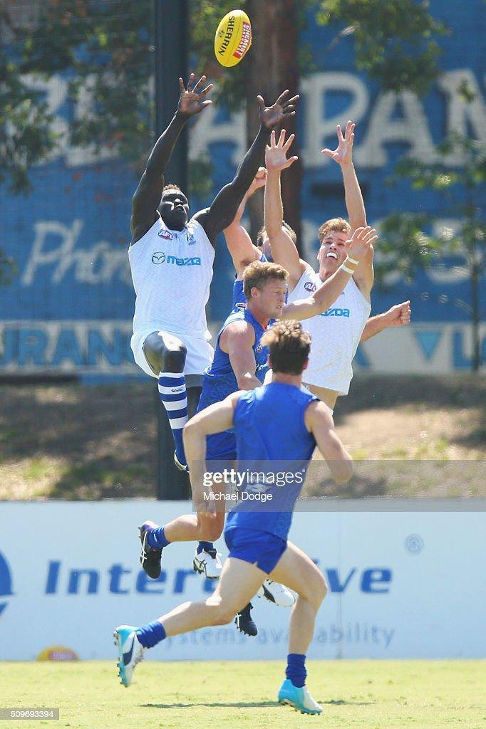 <a gi-track='captionPersonalityLinkClicked' href=/galleries/search?phrase=Majak+Daw&family=editorial&specificpeople=6756476 ng-click='$event.stopPropagation()'>Majak Daw</a> of the Kangaroos (L) competes for the ball during the North Melbourne AFL Intra-Club match at Arden Street Ground on February 12, 2016 in Melbourne, Australia.