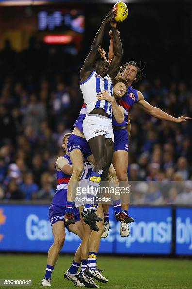Majak Daw of the Kangaroos marks the ball during the round 20 AFL match between the Western Bulldogs and the North Melbourne Kangaroos at Etihad...