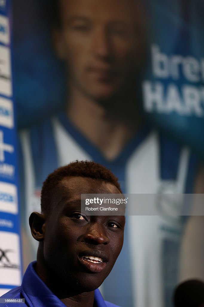 Majak Daw of the Kangaroos talks to the media after it was announced he would make his AFL debut during a North Melbourne Kangaroos AFL media session at Aegis Park on April 18, 2013 in Melbourne, Australia.