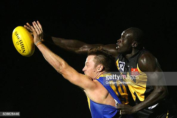 Majak Daw of Werribee competes in the air during the round five VFL match between Werribee and Williamstown at Avalon Airport Oval on May 7 2016 in...