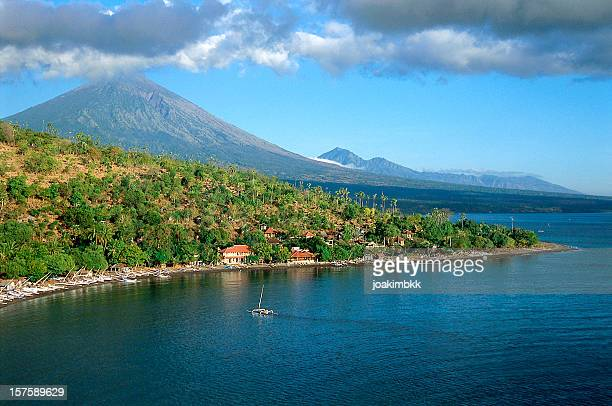 Majestic coastline with volcano in Amed in Bali
