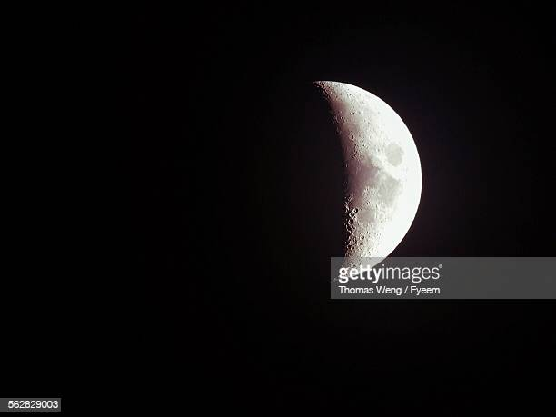 Majestic Half Moon In Dark Night Sky