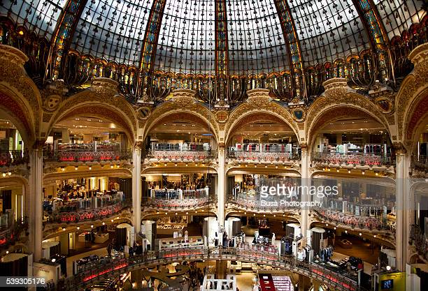 Majestic interiors of the Galerie Lafayette flagship store in Paris, France
