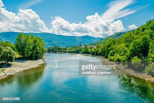 Majestic look to the Drina River in Serbia. : Stock Photo