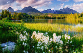 Majestic mountain lake in National Park High Tatra. Slovakia, Europe.